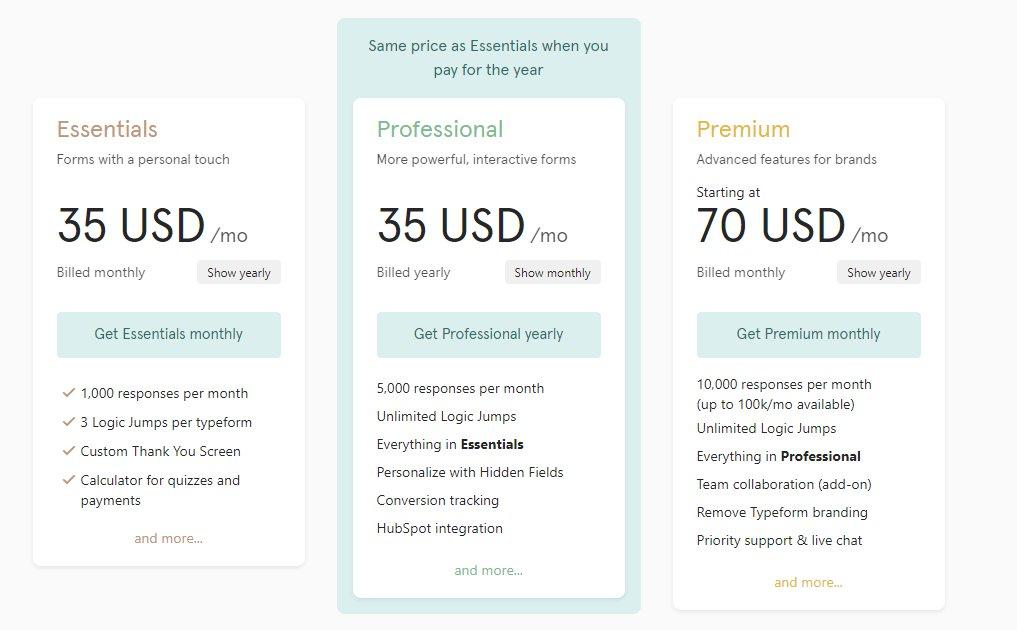 typeform plans and pricing