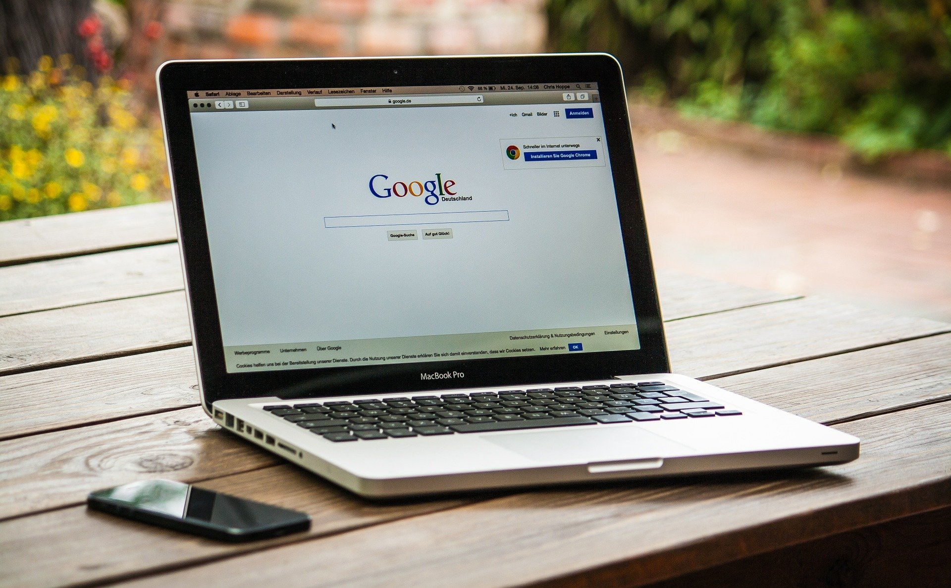Laptop with Google web page open